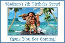 "(9) Personalized Moana Party Stickers,3 1/4"",Birthday Favors Bag Box Labels Tags"