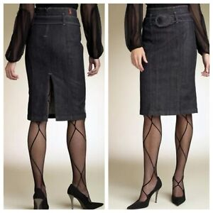 NWT 7 For All Mankind Size 24 High Waist Pencil Jeans Skirt Dark Wash $187.
