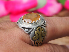 antik orient silber Afghanistan Gelb Achat statement ring YELLOW AQEEQ Nr:17/463