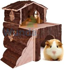 TWO STOREY BJORK LARGE GUINEA PIG HOUSE WITH RAMPS NATURAL WOOD HIDE DEN 6129