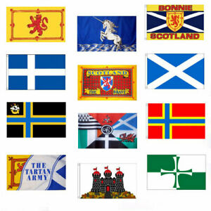 SCOTTISH FLAGS 5' x 3' St Andrews Cross Lion Rampant Bonnie Scotland Orkney etc