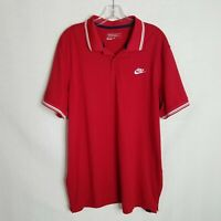 Nike Golf Mens Red Dri-Fit Tour Performance S/S Polo Shirt Slim Fit Size XL F201