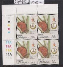 Malaysia Perak SG 203c Upper Left plate block of 4 MNH (7det)