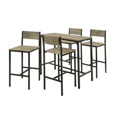 SoBuy OGT14 Bartisch Set 5-teilig Sitzgruppe Stehtisch Bistrotisch mit 4 Hockern