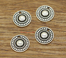 20 Bead Flower Charm Disc Charms Earring Charms Antique Silver Tone 16x16mm 2432