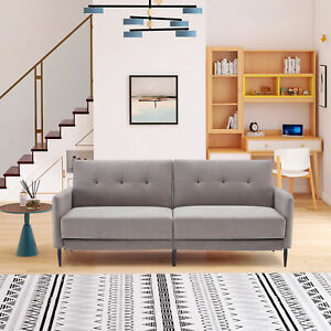 Linen Upholstered Modern Convertible Folding Futon Sofa Bed for Living Space