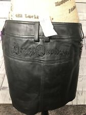 New With Tags Harley Davidson Women's Size 8 Black Genuine Leather Mini Skirt