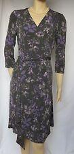 Laura Ashley Kleid 40 Wickelkleid grau lila Blumen geblümt Jersey