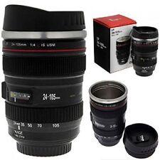 2 pck  350 ml Caniam Camera Lens Travel Mug Lens Cup Tea Mug Black