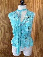 NWT New York & Company Womens Size XS Sleeveless Top Blouse Aqua Floral SOHO