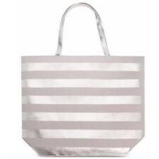 NWT - Macy's Silver & Gray Striped Tote Bag