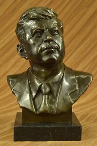 Vintage JFK BUST 100% Real Bronze on Marble Base President John F. Kennedy Sale