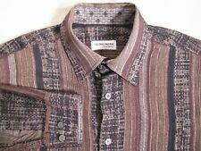 Georg Roth Germany Brown Abstract Print Striped long Sleeve Men's Shirt Size M