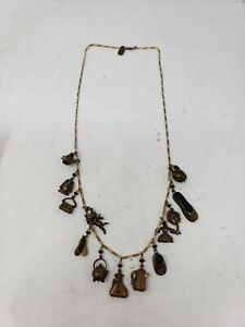 EUC Vintage Pididdly Links Necklace Kingston NY 13 Charms Brass