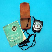 Vintage 1950s GE Exposure Light Meter Type PR-1 Case & Manual WORKS! USA