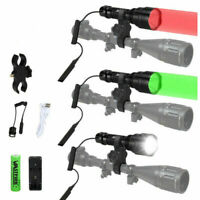 Tactical Green/Red/White Flashlight Hunting Torch Pressure Switch 18650 Charger