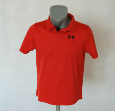 Under Armour Training Polo Shirt Heat Gear Loose fit Size M Red Activewear Top