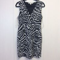 Boston Proper Women's Dress Striped Black White Sz 10