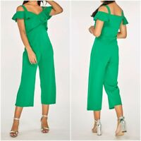 New Ex Dorothy Perkins Ladies Cold Shoulder Culotte Jumpsuit GREEN Size 6-18