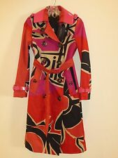 BURBERRY PRORSUM NWT WOMEN'S BRIGHT ROSE TRENCH COAT SIZE 36 MADE IN ITALY