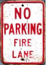 "TIN SIGN ""No Parking Fire Lane"" Highway   Deco  Garage Wall Decor"