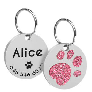 Cute Round Paw Personalised Dog Tags Disc Pet Puppy Cat Identity Tag Engraved