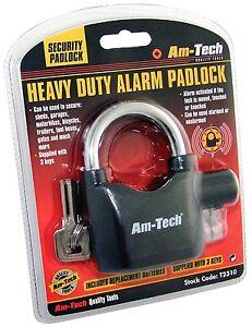 Am-Tech Heavy Duty Alarm Padlock - Sheds - Motorbikes - Bike Alarm