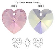 x 4 CUORI HEARTS CUORE SWAROVSKI ELEMENTS ORIGINALI 10mm mm 6228 LIGHT ROSE AB