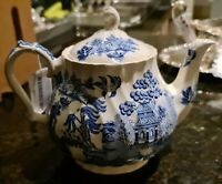 Vintage Sadler & Sons Ltd. Blue Willow Teapot Earthenware Ceramic Tea Pot Coffee