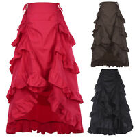 Victorian Long Ruffle Bustle Skirt Women Girl SteamPunk Retro Gothic Dress Red