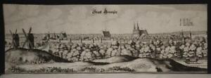 GRANSEE GERMANY 1650 MATTHÄUS MERIAN UNUSUAL ANTIQUE COPPER ENGRAVED CITY VIEW