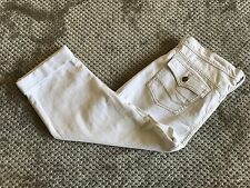NWT New Foster Jeans Women's Sz 14 White Capri Cropped Jeans Stretch Cuffed