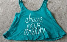 Women's Heart & Soul Chasse Your Dreams teal crop top one size EUC