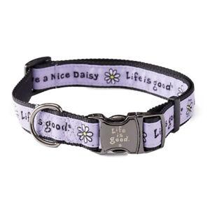 Life Is Good. Vintage Daisy Dog Collar, Lilac Purple