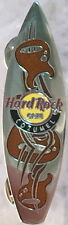 Hard Rock Cafe COZUMEL 2006 Brown Guitar Etchings on Silver Surfboard PIN #34282