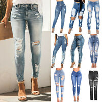 Womens Ripped Denim Jeans High Waisted Pants Skinny Distressed Stretchy Trousers