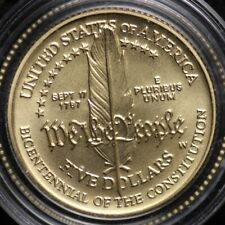 1987-W GOLD Constitution Commomerative Nice Coin $5 Gold Piece BU  Free Shipping
