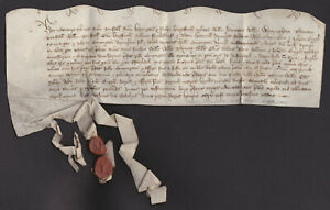 1459 Vellum indenture with 2 remaining wax seals, Westerleyk and Saxendale