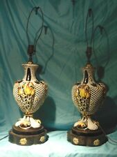 2 Matching Antique Capodimonte Lamps Working Italian Porcelain Hand Painted *M