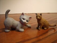 Lot Of 2 Cat Figures Safari Ltd Brown Short hair Abyssinian and a Grey Kitten