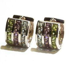 925 sterling silver natural gemstone peridot amethyst blue topaz hoop earrings