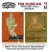 TIM DUNCAN 1997-98 Fleer FEEL THE GAME 23KT Gold Card RC Ball Textured * BOGO *