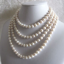 """68"""" 7-9mm White Cultured Fresh Water Pearl Strand Necklace Jewelry U"""