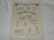 1958 Her Majestys Theatre Brisbane Salad Days Booklet Pamphlet Magazine
