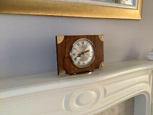 Bentima wood and brass mantel clock