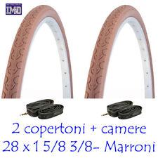 2 COPERTONI + CAMERE D'ARIA da 28 1 5/8 3/8 MARRONE VINTAGE CITY BIKE BICI UOMO