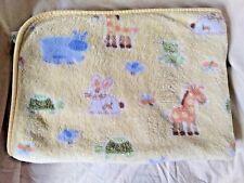 Circo Yellow Fleece Baby Blanket Animals Bunny Turtle Giraffe Birds Very Soft