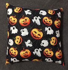 """Throw Pillow 12/"""" x 12/"""" Handmade Vintage Halloween Pumpkin Cat Ghost Accent"""