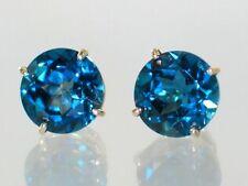London Blue Topaz, 14k Gold Post Earrings, E212
