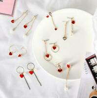 Women Red Heart-Shaped Heart Earrings Fashion Asymmetrical Earrings Ear Stub